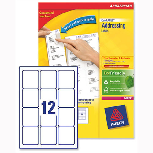 Avery L7164-250 Address Labels Laser 12 per Sheet 63.5x72mm White 3000 Labels
