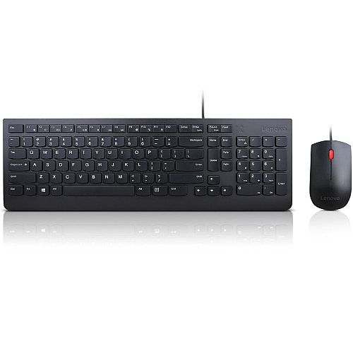 Lenovo Essential Wired Combo - Keyboard and mouse set - USB - UK English - for Tablet 10; ThinkCentre M625; M71X; ThinkPad A275; A475; L480; P52; T480; X280; V330-15