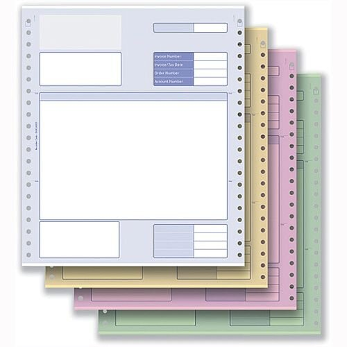 Invoice Form 4 Part NCR Paper with Tinted Copies Communisis Sage Compatible Pack 500