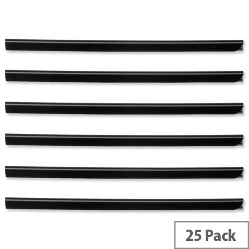 Durable Spine Bars for 80 Sheets A4 Capacity 9mm Black 2909/01 Pack 25