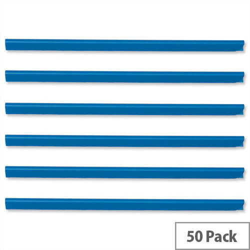 Durable Spine Bars for 60 Sheets A4 Capacity 6mm Blue 2931/06 Pack 50
