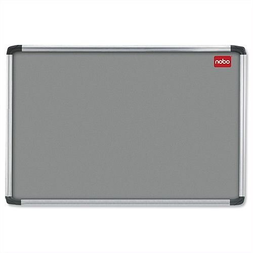 Nobo Grey Felt Notice Board Aluminium Frame with Fixings 1500 x 1000mm