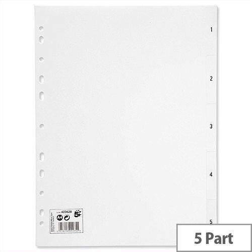 1-5 Index Plastic Multipunched A4 White 5 Star