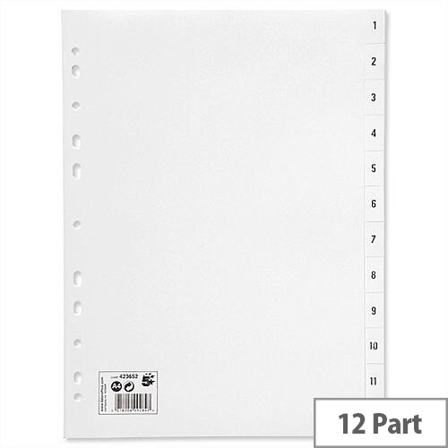1-12 Index Plastic Multipunched A4 White 5 Star