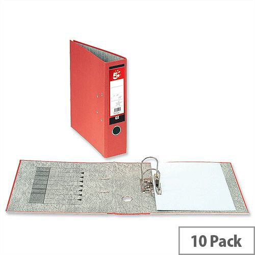 5 Star Office Lever Arch File 70mm A4 Red Pack 10