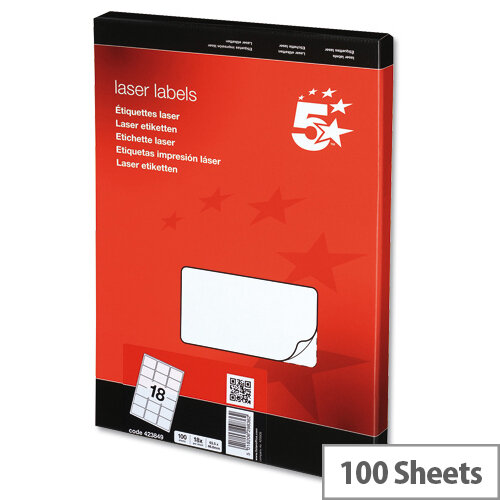 5 Star Address Labels 63.5x46.6mm White (1800 Labels)
