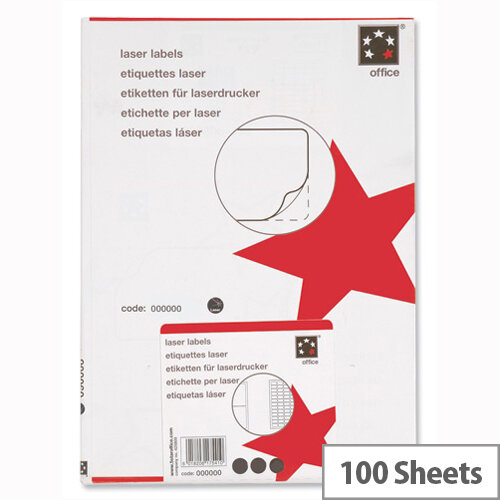 5 Star Address Laser Labels 64x34mm White (2400 Labels)
