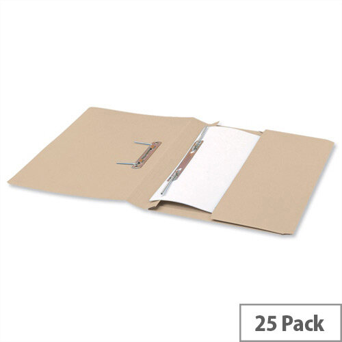 Office Transfer Spring File with Pocket 315gsm 38mm Foolscap Buff Pack 25