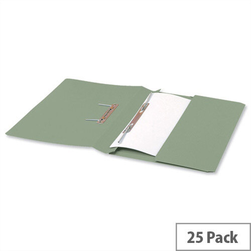 5 Star Office Transfer Spring File with Pocket 315gsm 38mm Foolscap Green Pack 25 423970