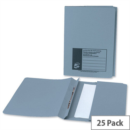 Flat File Foolscap Blue with Pocket Recycled Manilla 38mm Pack 25 5 Star