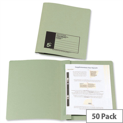 Flat Bar Files Foolscap Green Recycled Manilla 38mm Pack 50 5 Star