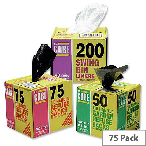 Le Cube Black Tie Handle Refuse Sacks with Dispenser 100L Pack of 75 0481