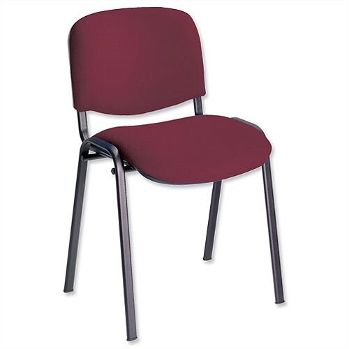Multipurpose Fabric Upholstered Stacking Chair Burgundy Trexus Budget