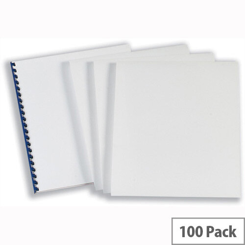 GBC Comb Binding Covers 220gsm A4 Optimal Matt Silk White CEO80070 Pack 50x2