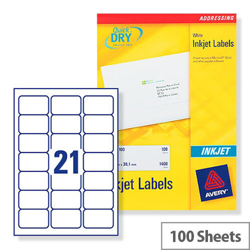 Avery Quickdry Inkjet Label 21 Per Sheet (Pack of 100)