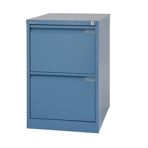 2 Drawer Steel Filing Cabinet Flush Front Doulton Blue Bisley BS2E
