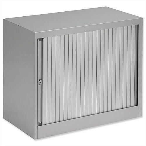Bisley Desk High Tambour Door Cupboard W800mm Silver Frame &Silver Shutters