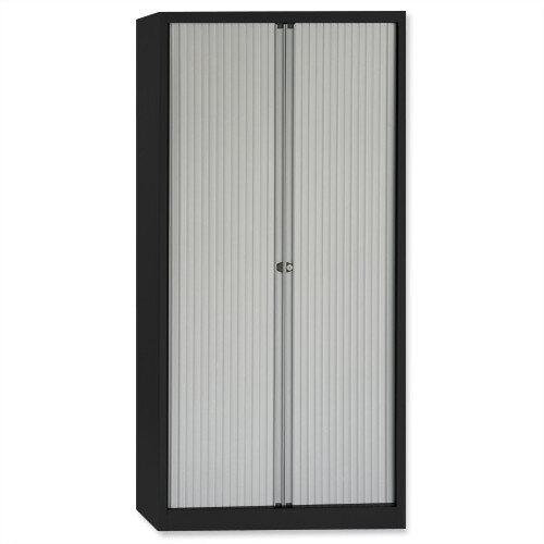 Bisley A4 Euro Tambour 4 Shelves Black Frame Silver Shutters ET410/19/4S.SL arn