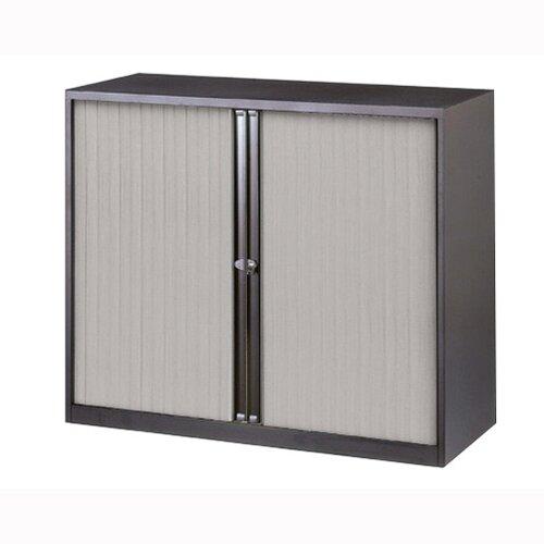 Bisley Black Tambour Cupboard 2 Shelves Width 1000mm Silver Shutters A4 Unit ET410/10/2S.SL arn