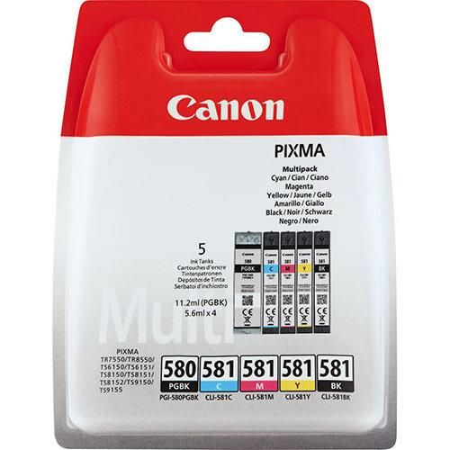 Canon PGI-580 PGBK/CLI-581 CMYBK Multipack - 5-pack - black, yellow, cyan, magenta - original - blister with security - ink tank - for PIXMA TR7550, TR8550, TS6150, TS6151, TS8150, TS8151, TS8152, TS9150, TS9155