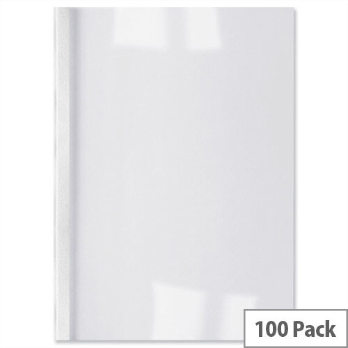 GBC A4 Thermal Binding Covers 6mm Front PVC Clear Back Leathergrain  White Pack 100