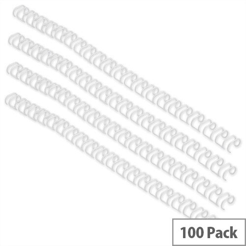 GBC Binding Wires 21 Loop 130 Sheets 12mm White Pack 100