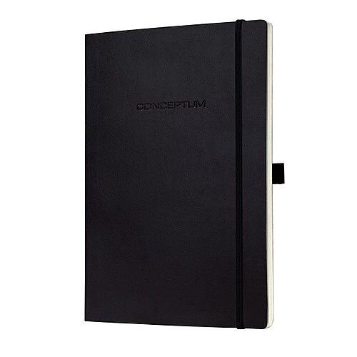 Sigel Conceptum Black Notebook Leather Look Soft A5 Cover – Portable, Durable, Folding Pocket, Pen Loop, 194 Pages, 80gsm, Perforated, Lined And Numbered Pages, Strap Enclosure &Casebinded (CO321)