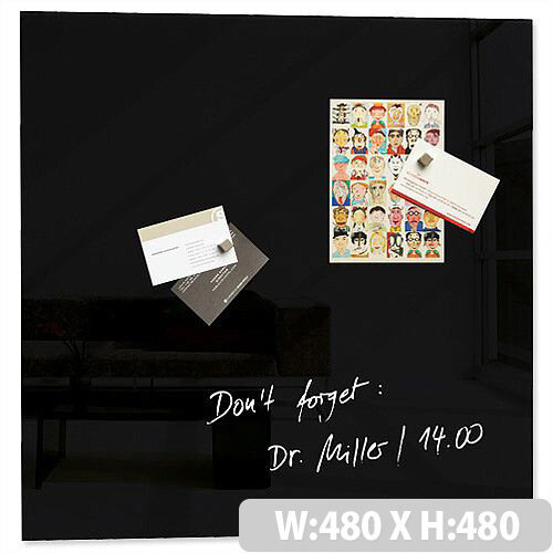 Sigel Artverum High Quality Tempered Glass Magnetic Board With Fixings 480x480 mm Black Ref GL110