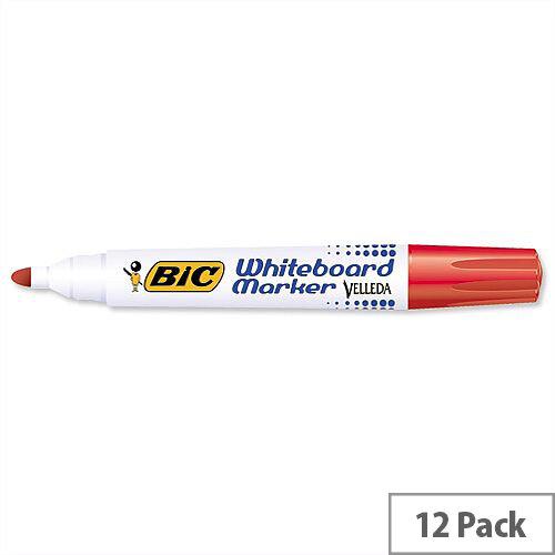 Bic Velleda 1701 Red Whiteboard Marker Bullet Tip Pack 12