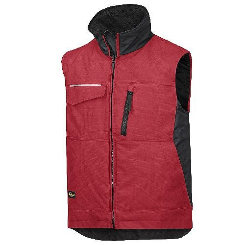 Snickers 4528 Craftsmen's Winter Vest Rip-stop Size L Regular Red/Black
