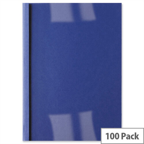 GBC A4 Thermal Binding Covers 6mm Front PVC Clear Back Gloss Royal Blue Pack 100
