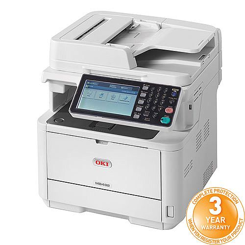OKI MB492dn Mono Multifunction Laser Printer A4 Duplex Network Fax
