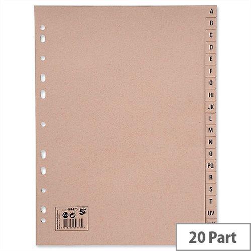 A-Z 20 Part Index Buff A4 5 Star
