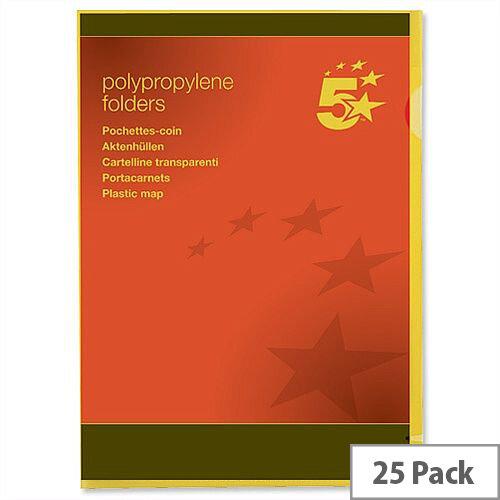Cut Flush Folder A4 Polypropylene Yellow Pack 25 5 Star