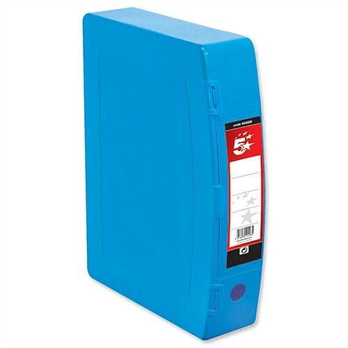 Foolscap Box File Blue Plastic Twin Clip Lock 5 Star 70mm Spine Polypropylene