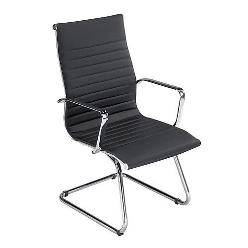 Modern Leather Look Visitors Armchair Black W490 x D430 x H500mm Backrest 400mm S7A