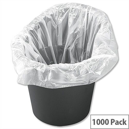 5 Star Bin Liners Gauge 28 Office Bin Bags 30L White Pack 1000