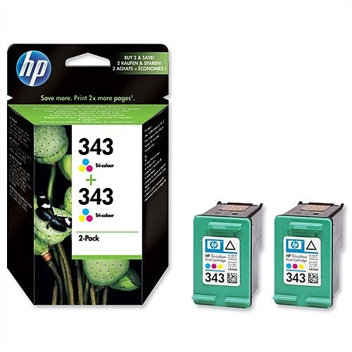HP 343 Colour Ink Cartridge Twin Pack CB332EE
