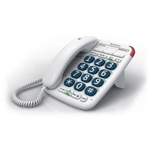 BT Big Button 200 Corded Telephone Handsfree Option White