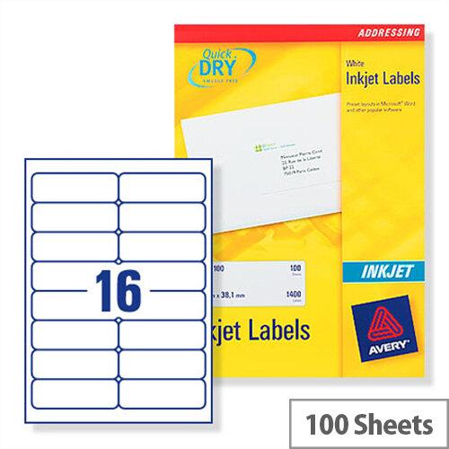 Avery Quickdry Inkjet Label 16 Per Sheet (Pack Of 100) Buy