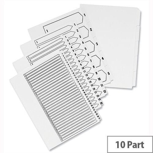 Concord 1-10 Unpunched Index A4 White – 10 Pack, Pre-Printed, Professional, Visible, Works With Slide, Wire and Comb Binders &Suitable For Non-Standard Binders (75201)