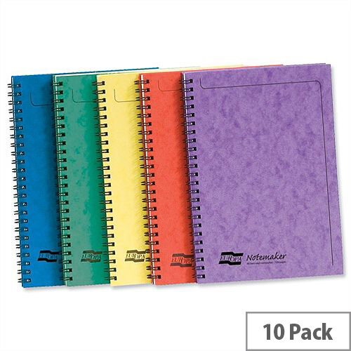 Europa A5 Notemaker Book Sidebound 120 Pages Assorted A Pack 10