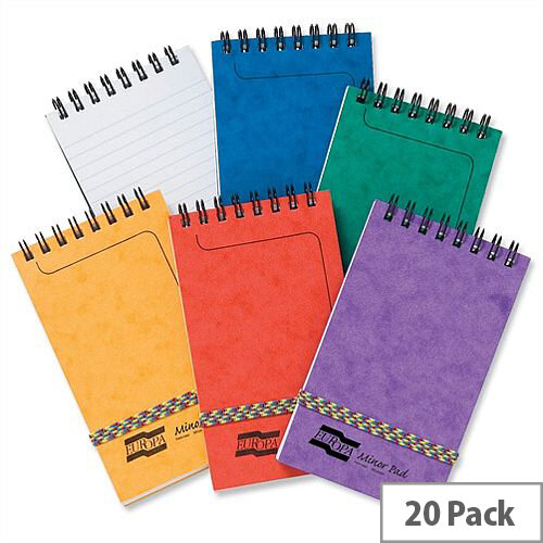Europa 127 x 76mm Minor Elasticated Notepad Wirebound Ruled 120 Pages Assorted A Pack 20