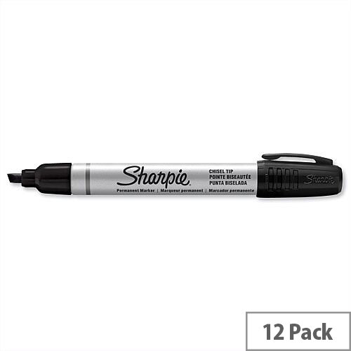 Sharpie Metal Permanent Marker Black Chisel Tip S0945770 Pack 12