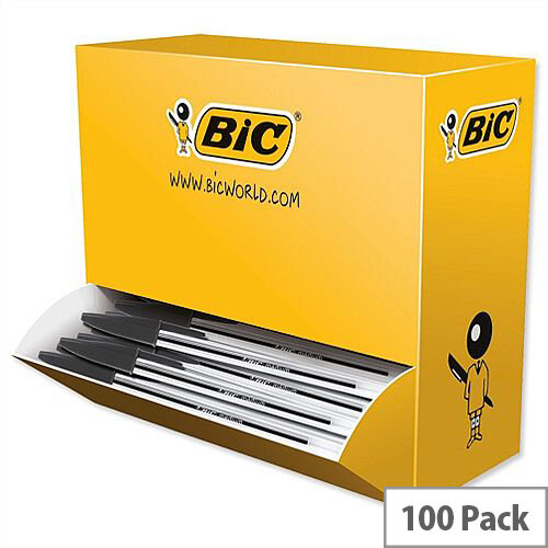 Bic Cristal Ballpoint Pen Clear Barrel Black Pack 90 plus 10 FREE
