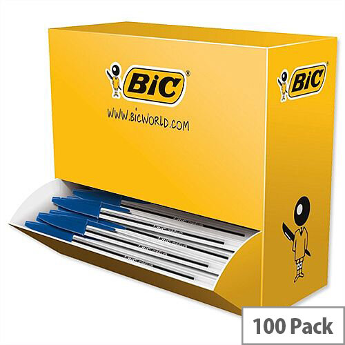 Bic Cristal Ballpoint Pen Clear Barrel Blue Pack 90 plus 10 FREE
