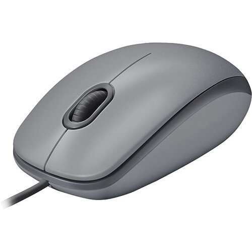 Logitech M110 Silent - wired computer mouse - USB - mid grey