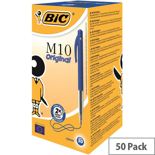 Bic M10 Retractable Ballpoint Pen Blue Pack 50