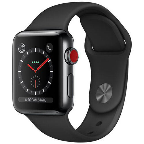 Apple Watch Series 3 (GPS + Cellular) - space grey aluminium - smart watch with sport band - black - 16 GB