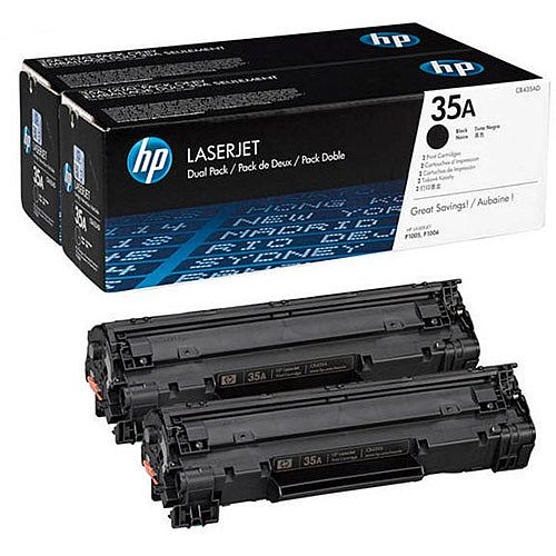 HP 35A Black Laser Toner Cartridge CB435AD Pack 2